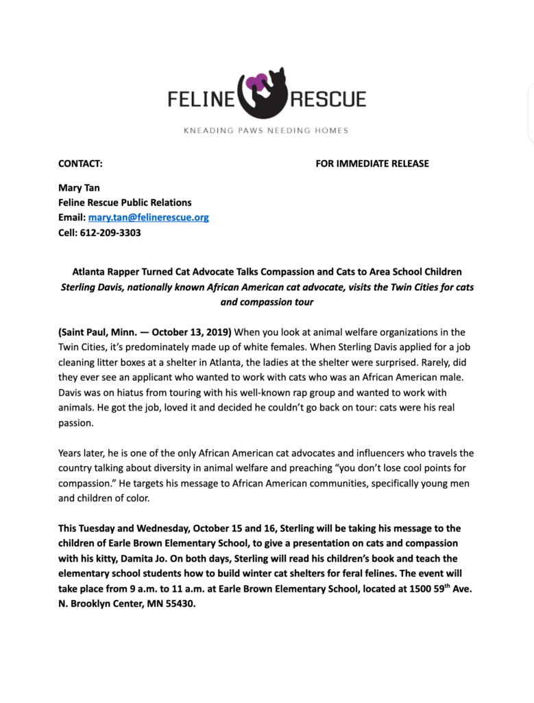 sterling davis press release about school visit